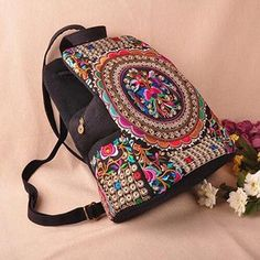 d5bdc8bb8cfc National trend canvas embroidery Ethnic backpack women handmade flower Embroidered  Bag Travel Bags schoolbag backpacks mochila