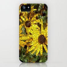 Mosaic Black  Eyed Susan iPhone & iPod Case by Rokin Art by RokinRonda - $35.00