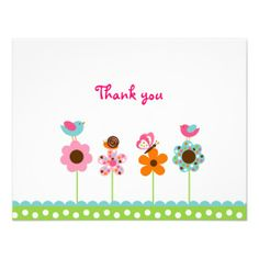 Flower Meadow Flat Thank You Note Cards Announcements