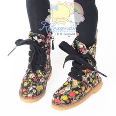 Doll Shoes Martin LaceUp Stitching Boots Flowers by Releaserain, $26.99