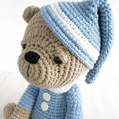 Sleepy teddy in pajamas amigurumi pattern by Kristi Tullus