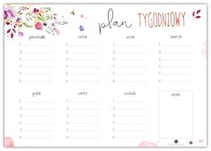 Plan tygodniowy – Depth of souls Bujo, Lesson Plans, Back To School, Bullet Journal, Printables, Organization, How To Plan, Beautiful, Art