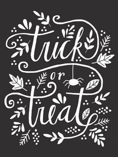 trick or treat hand lettering card