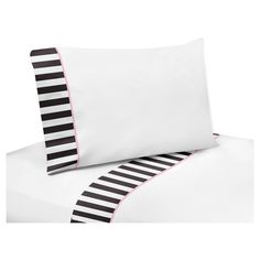 Paris 3 Piece Twin Sheet Set will help complete the look of your Sweet Jojo Designs room. This white brushed microfiber fabric with coordinating black and white stripe trim and light pink piping sheet set fits all standard twin size mattresses and is machine washable for easy care. Twin Sheet Set Includes: Fitted Sheet, Flat Sheet and Pillow Case.