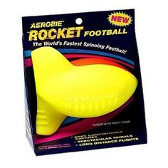 Aerobie Rocket Football WORLD'S FASTEST SPINNING FOOTBALL The Aerobie Rocket football's patented curved fins and small diameter create spectacular spirals and long distance flights.