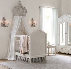 RH baby&child's Adele Crib:Designed with graceful curves, carved cabriole legs and woven cane panels, Adele has a traditional French design aesthetic.