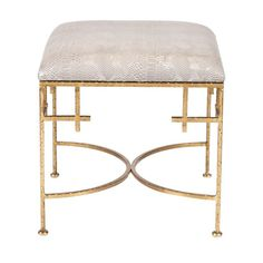 Lolita Gold Leaf Stool with Snakeskin by Worlds Away evokes a sense of the exotic. Faux snakeskin upholstery adorns the elegant metallic design of the bae to create unique seating for any room. Bedroom Stools, Room Chairs, Dining Chairs, Lounge Chairs, Dining Room, Dining Table, Gold Stool, Ceramic Garden Stools, Vanity Stool