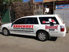 Vinyl stickers applied to a stationwagon for Knockout fitness and boxing in Forest Hill Melbourne. Everything managed and installed on site by Sign A Rama Box Hill.
