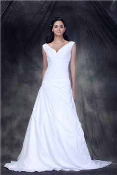 Classic A-Line V-neck  Floor-Length  Anderae's Wedding Gown EF11249