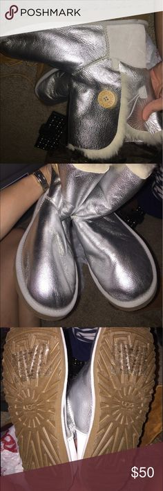 New sliver ugg boots Silver metallic UGG boots new size 9 but run a little big UGG Shoes Ankle Boots & Booties