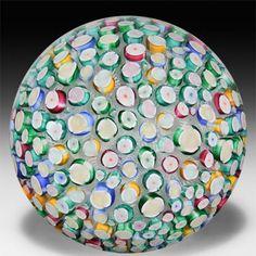John Deacons 2014 Clichy-type roses on upset muslin magnum glass paperweight. by John Deacons: