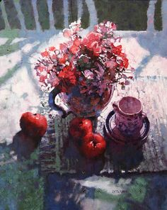 """Bouquet with Apples"" - Michael Dudash, Cool Paintings, Beautiful Paintings, Watercolor Paintings, Watercolor Artists, Abstract Paintings, Painting Art, Landscape Paintings, Painting Still Life, Still Life Art"