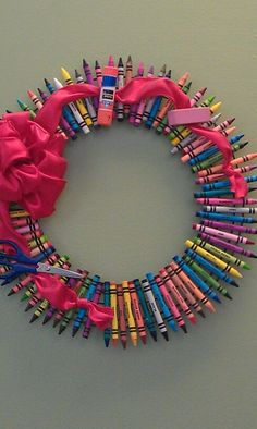 "Darling ""Back to School Wreath"" or Teacher gift!!! Bebe'!!! Really cute school wreath!!!  All manufactured"