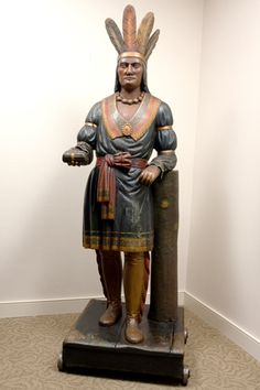 Thomas V. Brooks Carved Cigar Store figure #indian #art #sculpture