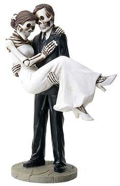 Halloween Groom carries Bride True Love Never Dies Gothic Wedding Cake Toppers-Hand Painted Romantic Skeleton Couple Skull Wedding Cakes, Gothic Wedding Cake, Custom Wedding Cake Toppers, Wedding Topper, Wedding Couples, Wedding Bride, Dream Wedding, Wedding Ideas, Wedding Stuff