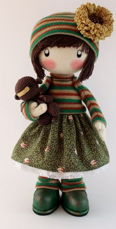 Handmade Doll Zooey brown with bear, cloth doll brown and green dolls handmade cloth