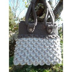 CroCoDile baG single piece)-with nitting internal- lined Made in Italy (53 CAD) via Polyvore featuring bags, handbags, croc bags, crocodile bag, crocodile purse, lining bag and brown handbags
