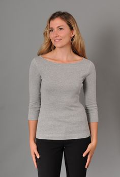 SALE - Three Dots Fitted British Boatneck Tee with Sleeves Three Dots, Tee Shirts, Tees, Every Woman, Eileen Fisher, Boat Neck, Pullover, Tank Tops, Fitness