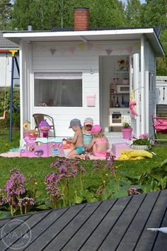 outdoor play area for kids – Kids' Playground . Garden Playhouse, Girls Playhouse, Build A Playhouse, Playhouse Outdoor, Kids Outdoor Play, Kids Play Area, Play Areas, Play Spaces, Outdoor Games