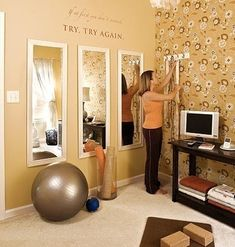 Guest room + workout room + office in closet. Use table/bench/entertainment center for a monitor to watch workout videos. Put futon/pullout couch in room and desk/office in closet. Long mirrors to check form--we so need to do this