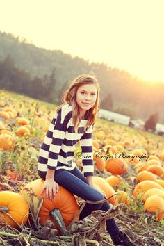 A day at the pumpkin patch. Children's photography