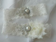 Wedding Garter Set Bridal Garter Ivory Lace by BellaSposaCouture, $29.95