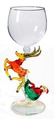 Santa w/ Sleigh Hand Blown Wine Glass from Yurana Designs - W283 by Yurana Designs, http://www.amazon.com/dp/B00999N4QA/ref=cm_sw_r_pi_dp_nPh.qb07HE11Q