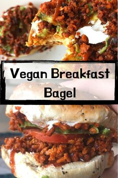 vegan breakfast bagel delicious vegan breakfast sandwich, full of so many great foods. dont skip the savory because youre vegan doesnt mean you have to lose out on stuffed bagel sandwiches. im obsessed Breakfast Crockpot Recipes, Vegetarian Breakfast Recipes, Delicious Vegan Recipes, Brunch Recipes, Breakfast Bagel, Healthy Vegan Breakfast, Vegan Snacks, Vegan Bagel, Bagel Bagel
