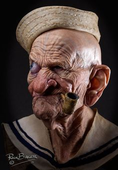 Award-winning special effects makeup artist Rick Baker's a printed sculpture of an aged Popeye the Sailor Man : interestingasfuck Funny Caricatures, Celebrity Caricatures, Personnages Looney Tunes, Special Effects Makeup Artist, Realistic Cartoons, Popeye The Sailor Man, Old Faces, Dark Fantasy Art, Interesting Faces
