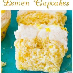 Delicious and simple Homemade Lemon Cupcakes with creamy vanilla frosting! sallysbakingaddiction.com