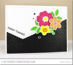 Bold Blooms Stamp Set and Die-namics, Lined Up Dots Background, Stitched Scallop Basic Edges Die-namics - Jodi Collins #mftstamps