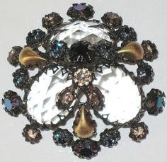 Schreiner Unsigned Amazing Rhinestone Golden Teardrop Vintage Pin   eBay