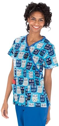 Medical Uniforms and Nursing Scrubs - Impulse 100% Cotton Starry Owls Mock Wrap Scrub Top  Owl print, Veterinary scrubs, animal prints