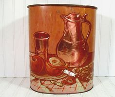 Still Life Copper Embossed Metal Waste Can - Vintage Weibro Relief Lithograph Bin - Shabby Chic Trash Basket $23.00 by DivineOrders