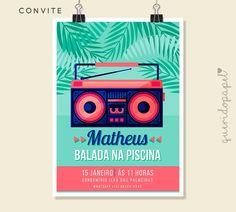 Festa na Piscina, Convite Pool Party, Convite Piscina, Convite Música, Convite Massa, Convite Moderno