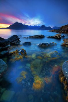 The misty blue beauty of Elgol on the Isle of Skye, Scotland