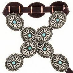 Navajo Silver Concho Belt Full Size Turquoise Santa Fe Style