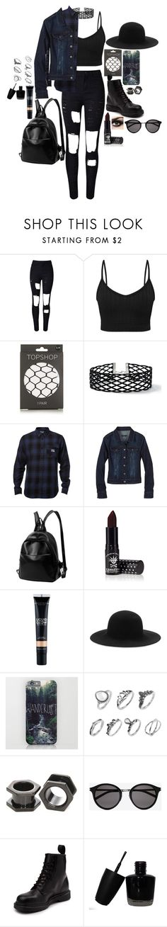 """Is this Grunge?"" by twocigarettes ❤ liked on Polyvore featuring WithChic, Topshop, Miss Selfridge, Fox, prAna, Manic Panic NYC, Anastasia Beverly Hills, rag & bone, Yves Saint Laurent and Dr. Martens"