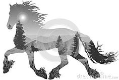 Silhouette Of A Running Horse In A Tree Stock Image - Image: 37677081