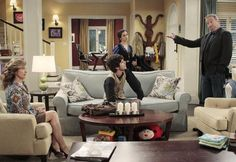 Love the design and colours of the lounge room in the tv show Last Man Standing Yellow Paint Colors, Yellow Painting, Paint Colors For Home, Yellow Walls, Room Colors, House Colors, Colours, Blue Couches, Kitchen Family Rooms