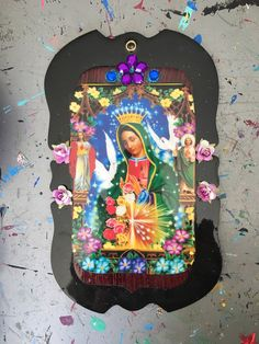 Our Lady Of Guadalupe Image On Wooden Plaque Purple Blue Vintage Virgin Mary
