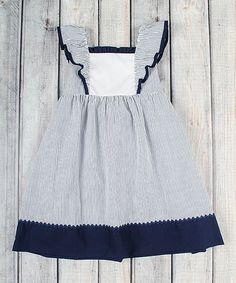 Another great find on #zulily! Navy Stripe Seersucker Peasant Dress - Infant, Toddler & Girls #zulilyfinds
