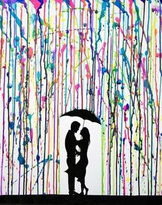 Canvas Painting Crayon Melted Art Unique Wedding Gift