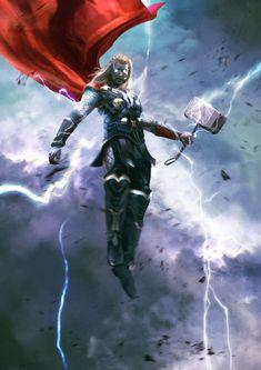 Thor art by Kevin Barbot Marvel Avengers, Marvel Comics Art, Marvel Comic Universe, Marvel Heroes, Marvel Cinematic Universe, Marvel Movies, Chris Hemsworth Thor, Comic Kunst, Comic Art