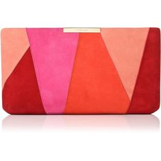 L.K. Bennett Flora Pink Suede Patchwork Clutch (1.180 BRL) ❤ liked on Polyvore featuring bags, handbags, clutches, red handbags, pink envelope clutch, envelope clutch, suede clutches and pink hand bags