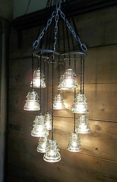 for screened in patio Horse Shoe-Antique Glass Insulator Pendant Chandelier/Light Fixture Glass Art