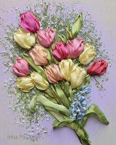 Cinta de seda del bordado conjunto Tulipanes