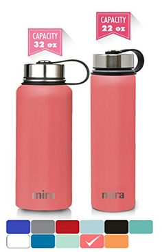 MIRA 32 Oz Stainless Steel Vacuum Insulated Wide Mouth Water Bottle   Thermos Keeps Cold for 24 hours, Hot for 12 hours   Double Wall Powder Coated Travel Flask   Coral. For product & price info go to:  https://all4hiking.com/products/mira-32-oz-stainless-steel-vacuum-insulated-wide-mouth-water-bottle-thermos-keeps-cold-for-24-hours-hot-for-12-hours-double-wall-powder-coated-travel-flask-coral/