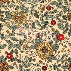 Floral Vintage Seamless Pattern For Retro Wallpapers Vector