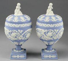 Pair Wedgwood light blue Jasper covered urns
